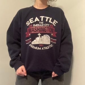 Navy Seattle Washington Crewneck Sweatshirt